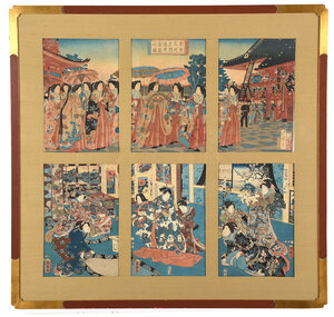 Two Framed Japanese Woodblock Triptychs