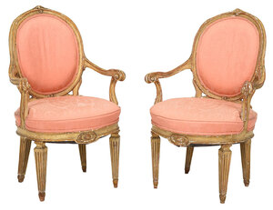 Pair Italian Louis XVI Style Carved Open Armchairs