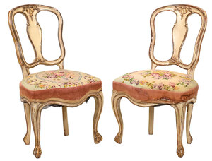 Pair Louis XVI Style Parcel Gilt Side Chairs