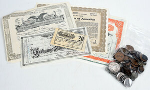 Group of Coins and Stock Certificates
