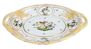 Rare Large Herend Rothschild Bird Tray
