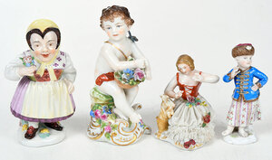 Four Continental Hand Painted Porcelain Figures