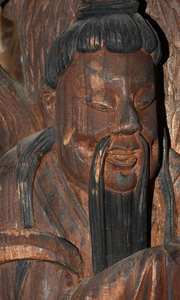 Two Chinese Relief Carved Architectural Panels