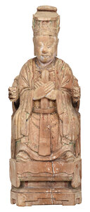 Chinese Carved Wood Emperor Figure