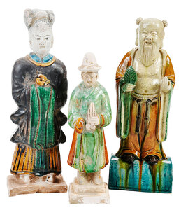 Three Chinese Glazed Earthenware Tomb Figures