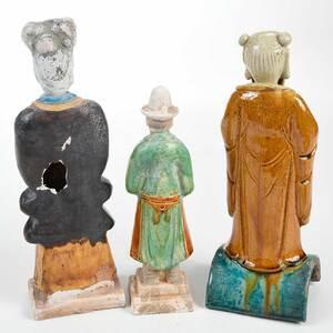 Three Chinese Glazed Earthenware Tomb Figures