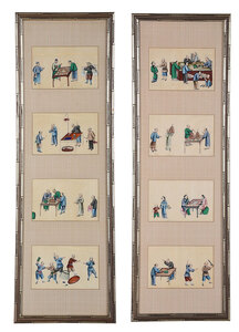 Eight Framed Chinese Export Pith Paintings