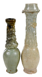 Two Chinese Celadon Glazed Funerary Jars