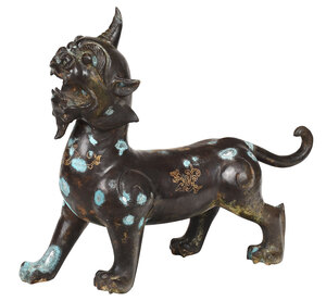 Chinese Bronze Inlaid Foo Dog with Horn