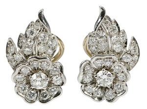 Platinum & 14kt. Diamond Earrings