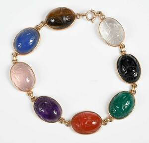 14kt. Scarab Necklace and Bracelet