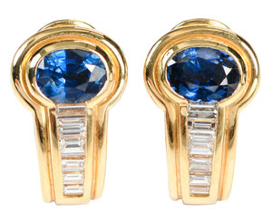 18kt. Sapphire and Diamond Earrings