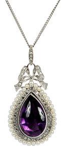 Platinum Amethyst, Pearl & Diamond Pendant