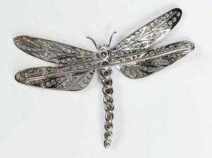 Asprey Platinum Diamond Dragonfly Brooch