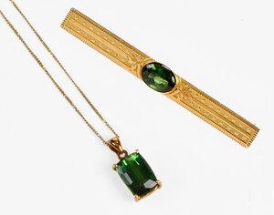 Two Pieces Gold & Tourmaline Jewelry