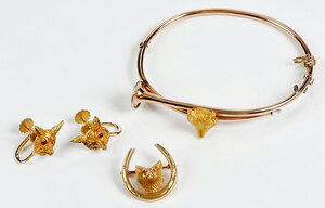 Three Pieces Gold Fox Hunt Themed Jewelry