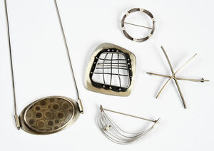 Five Pieces Handmade Silver Modernist Jewelry