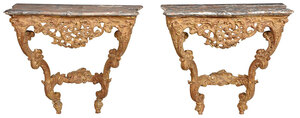 Pair Louis XV Carved Marble Top Console Tables
