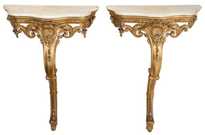 Pair Louis XV Style Giltwood Marble Top Consoles