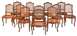Assembled Set of 12 Louis XV Caned Dining Chairs