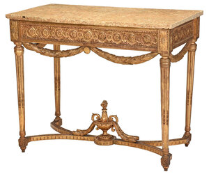 Italian Louis XVI Carved Marble Top Console Table