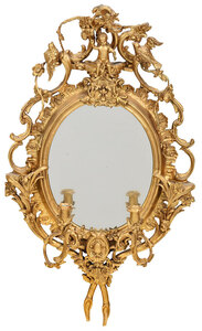 Louis Philippe Figural Mirror with Candle Arms