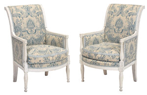 Pair Directoire White Painted Armchairs