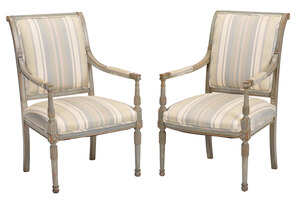Pair Directoire Style Gray Painted Armchairs