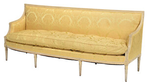 Louis XVI Painted Silk Damask Upholstered Sofa