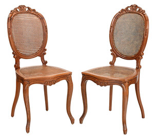 Pair Louis Philippe Carved Walnut Side Chairs