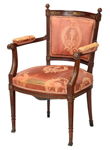 Empire Style Bronze Mounted Open Armchair