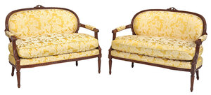Pair Louis XVI Style Carved Upholstered Settees