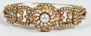 Antique 14kt. Seed Pearl Hinged Bracelet