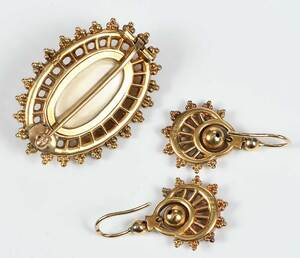 Antique Gold Brooch and Earring Set