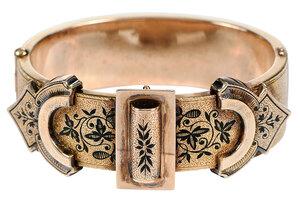 Antique Gold and Enamel Hinged Bracelet