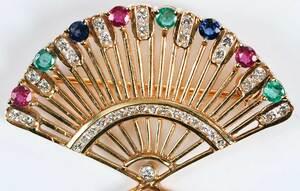 18kt. Gemstone Fan Brooch