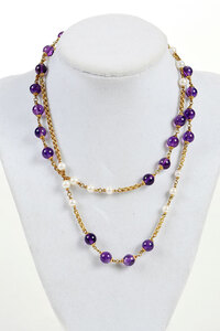 18kt. Amethyst and Pearl Necklace
