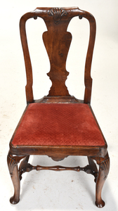 Pair George I Shell Carved Walnut Side Chairs