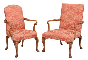 Two Queen Anne Style Shepherd's Crook Armchairs