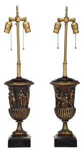 Pair of Gilt Bronze Urn Form Table Lamps