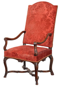 Louis XV Carved Walnut Open Armchair