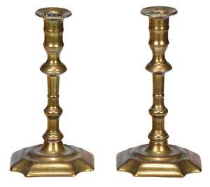 Pair of Queen Anne Brass Candlesticks