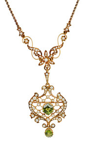 Antique Gold Peridot and Pearl Necklace