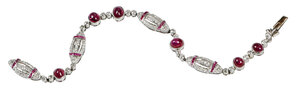 Art Deco Platinum, Ruby and Diamond Bracelet