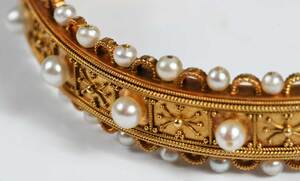 Antique Gold and Pearl Hinged Bracelet