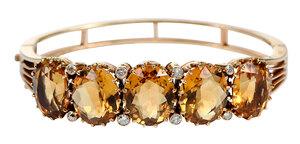 14kt. Citrine and Diamond Bracelet