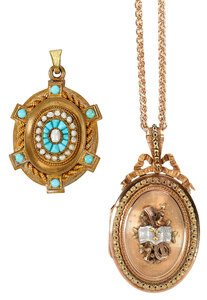 Antique 18kt. Locket and Antique Brooch