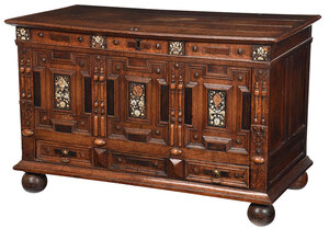 Charles I Mother of Pearl Inlaid Oak Coffer