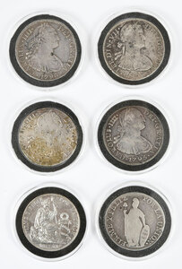 Six Spanish Colonial Silver Coins