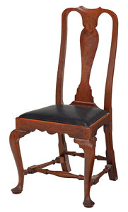 Queen Anne Style Figured Walnut Side Chair